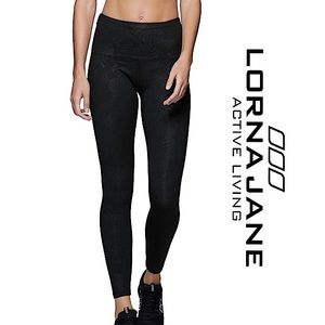 Lorna Jane Black Luxe Palm Full Length Leggings